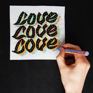Red Bug Lettering LoveLoveLove Lukas Horn