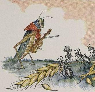Illustration von Jean de La Fontaines Fabel durch Gustave Doré Zirpen & Schwärmen